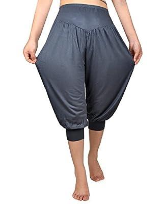 Jishen Womens Modal Cotton Elastic Waistband Sports Dance Yoga Harem Cropped Pants
