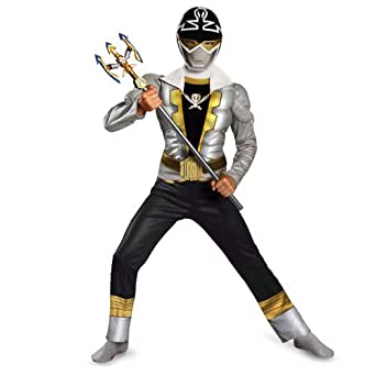 Disguise Saban Super MegaForce Power Rangers Special Ranger Silver Classic Muscle Boys Costume, Medi