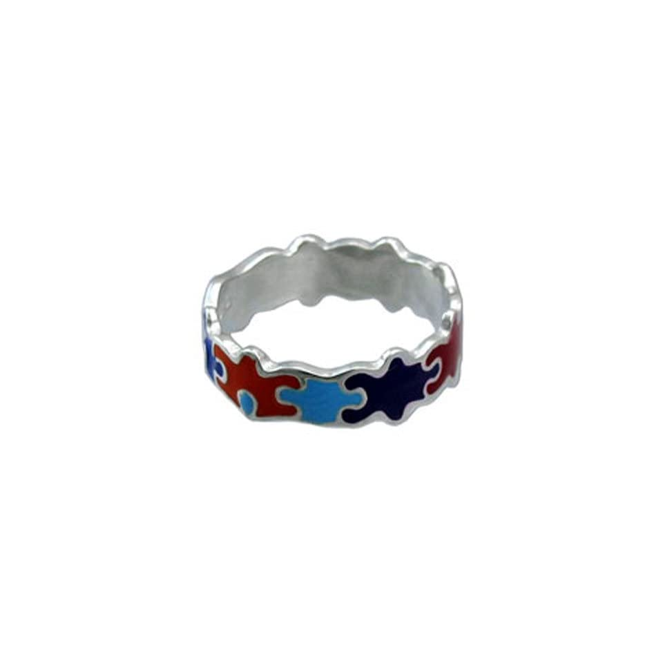 Autism Awareness Colorful Puzzle Piece Ring Size 6
