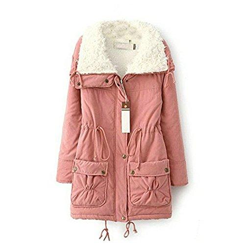 LATH.Pin thicken da donna in pile in finta pelliccia caldo inverno cappotto giacca da donna giacca invernale Rosa Asiatico S