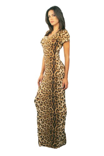 Leopard Print Maxi T-shirt Dress By Luxxe® (Small)