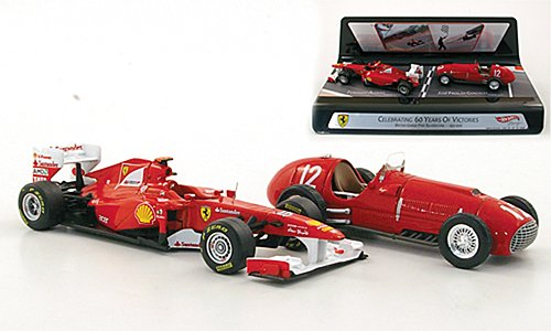 Ferrari 60 Years of Victories: 150° Italia, No.5, F.Alonso 2011 and 375 F1, No.12, J.F.Gonzalez 1951, Model Car, Mattel 1:43