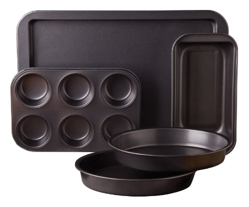Sunbeam 76893.05 Kitchen Bake 5-Piece Bakeware Set, Carbon S