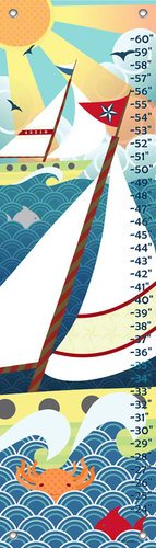 Oopsy Daisy Growth Charts Vintage Voyage by Jen Christopher, 12 by 42-Inch
