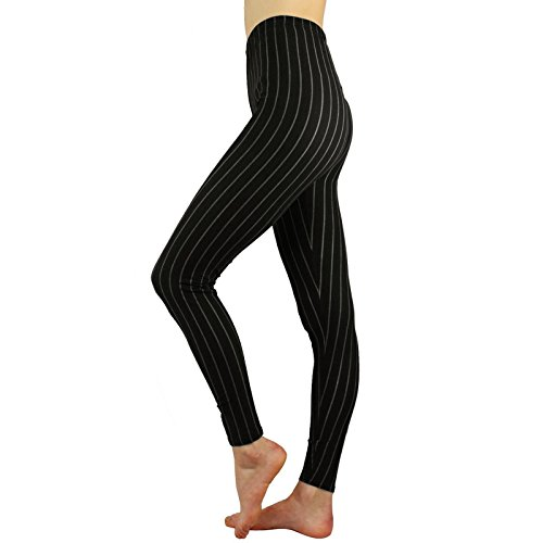 Sexy Slimming Pinstripe Vertical Dance Classy Comfort Leggings Stretchy Black (Women Pinstripe Pants compare prices)