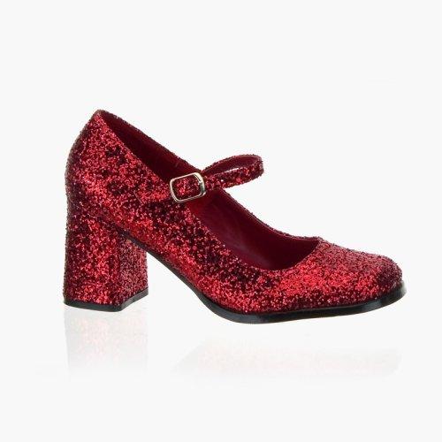 Wedding Shoes: GOGO 3 Inch Block Heel Mary Jane Pump Shoes Red Glitter Pleaser-Pleaser Wedding Shoes-Pleaser Wedding Shoes: GOGO 3 Inch Block Heel Mary Jane Pump Shoes Red Glitter Pleaser-Pump Wedding Shoes