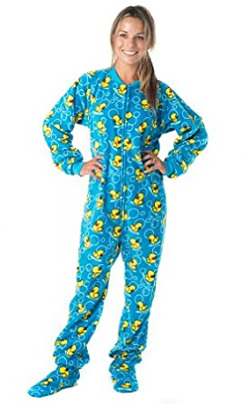 Footed Pajamas Splish Splash Blue Adult Fleece - Large