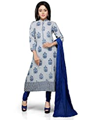 Vastra Vinod White And Blue Cotton Readymade Kurti With Legging