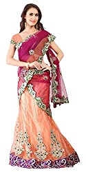 Jiya Fashion Women's Net Lehenga Choli (Orange and Purple)