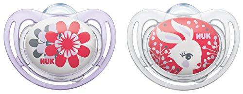 NUK 10176112 Silikon Beruhigungssauger (Schnuller) Freestyle mit Ring, Größe 2 (6-18 Monate), BPA-frei, 2 Stück, Girl