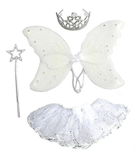 4 Pc Girls Crystal Fairy Set with Silver Sparkle Tutu, Wings, Wand & Crown
