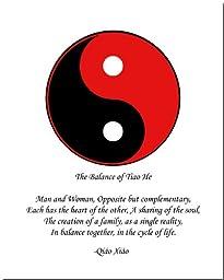 8x10 Yin Yang Print (Red/Black)