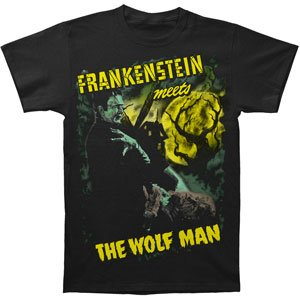 Universal Monsters Men's Frankenstein Vs. Wolfman T-shirt Black