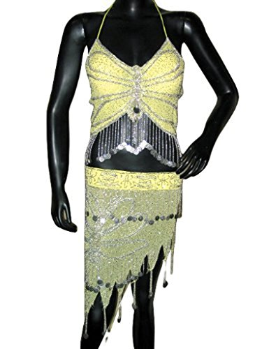 Costumes for Belly Dancing Cream Gold Halter Bra Choli Hip Wrap Belly Dance Costume