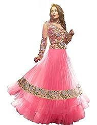 G & S Fashion Women's Faux Georgette Pink Anarkali Dress Material