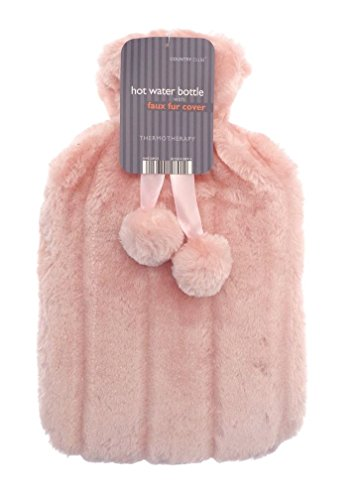 luxurious-cosy-faux-fur-cover-hot-water-bottles-with-pom-poms-salmon