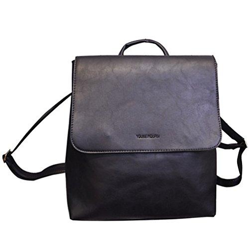 Baymate Donne Moda Borsa British Style Schoolbag Retrò Zaino di Viaggio Nero