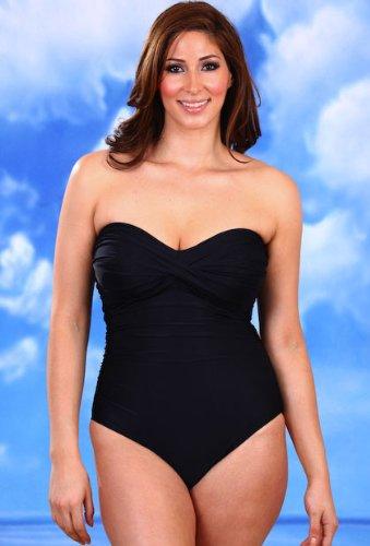 eb1ac622c6d Black Twist Front Bandeau One Piece Swimsuit - Women s Swimsuit Plus Size  Swimsuit Feature