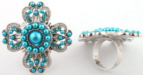 Ladies Silver with Blue Clover Style Adjustable Pearl Finger Ring