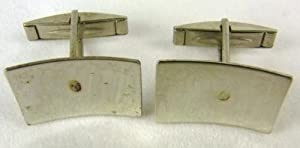 Pair of Stainless Steel Jewellery Making Craft Cufflink Blanks Concave Rectangle