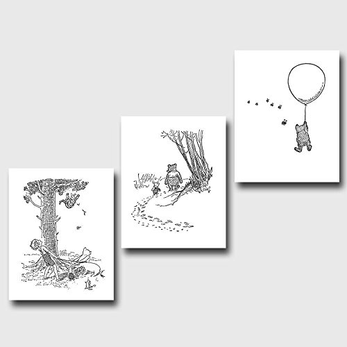 set-of-3-classic-winnie-the-pooh-black-and-white-art-prints-nursery-wall-decor-pooh-bears-escapades-