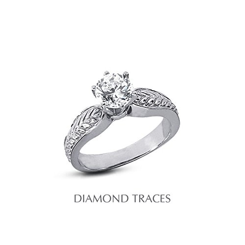 0.28 Carat Round Natural Diamond Agi Certified F-Vs2 Ideal Cut 14K White Gold 6-Prong Setting Vintage Engraved Style Solitaire Engagement Ring