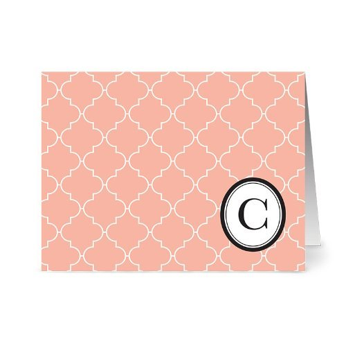 modern-lattice-c-coral-monogram-24-cards-blank-cards-w-grey-envelopes-included-by-note-card-cafe
