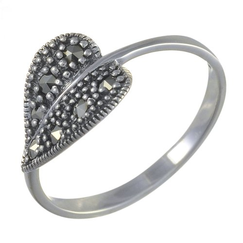 Esse-Marcasite-Sterling-Silver-Art-Nouveau-Leaf-Ring-Set-with-Marcasite-Size-N
