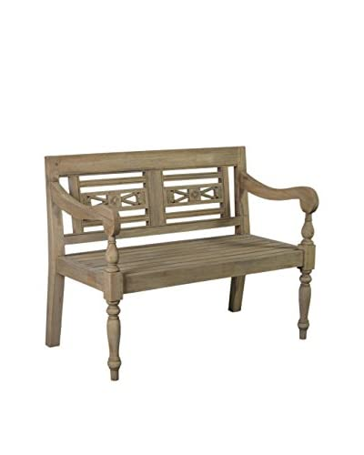 Jeffan Promenade Carved Wood Bench, Natural