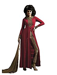 Clickedia Women Gorgette Embroidered Red Center Cut Suit & Golden Black Chudidaar Semi-Stitched - Dress Material
