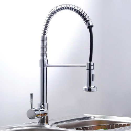 Single lever handle pull out kitchen spray sink faucet shower head faucets chrome shopping - Shower head for kitchen sink ...