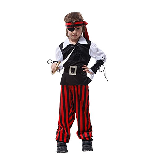 [Daisy Children's Costumes Pirate King Halloween Cosplay Costumes Fancy Dress for Theme Party - M] (Family Themed Fancy Dress Costumes)