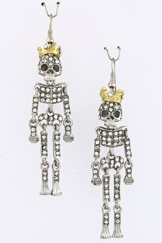 Contempo Couture Articulate Skeleton Earrings (Silver)