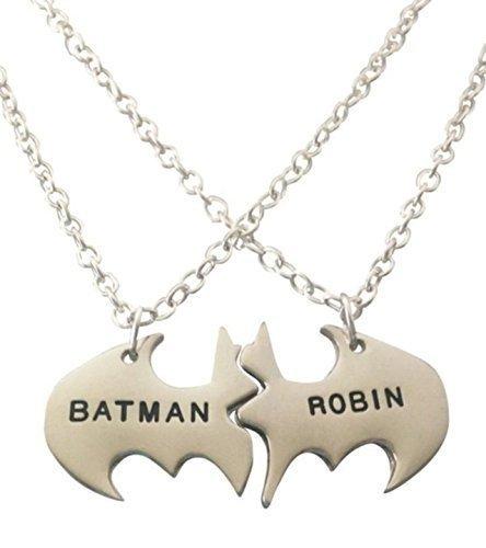 DC Comics BATMAN and ROBIN Best Friends or Couples Split Pendant Necklace Set