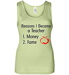 Reasons I Became A Teacher Funny Women's Tank Top lime XL