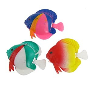 3 pcs aquarium tank decor multicolor wiggly tail plastic for Fake fish that swim