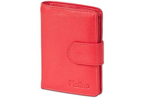 Platino - Portafoglio donna con il bullone esterno dalla pelle pregiata con First Class qualità in Red