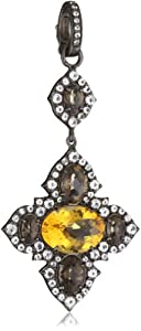 Sutra Citrine and Smoky Cross Pendant Necklace Enhancers