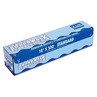"Boardwalk 7104 Standard Aluminum Foil Roll, 18"" x 500 ft, 14 Micron Thickness, Silver"