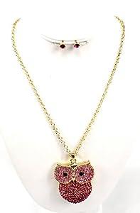 Beautiful!! Fuschia Owl Pendant Necklace Acrylic Stones w/ Matching Earring Set, Summer, Elegant , Luminous