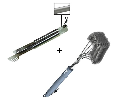 Grill Tongs + BBQ Brush - ONLY 100% RUST PROOF DESIGN - Stainless Steel Wire Bristles with Strength Clip for Cleaning Char Broil Weber Porcelain and Infrared Barbecue Grates - 18