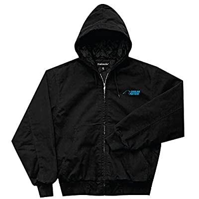 NFL Carolina Panthers Cumberland Canvas Quilt Lined Hooded Jacket, Black, Large