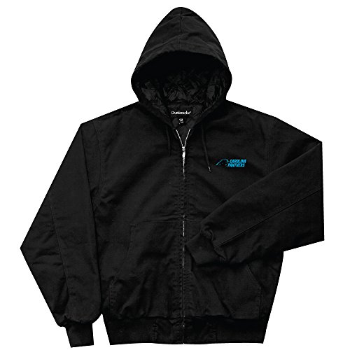 NFL Carolina Panthers Cumberland Canvas Quilt Lined Hooded Jacket, Black