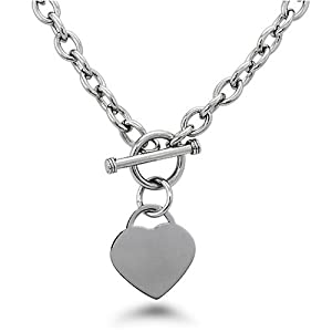 High Polished Stainless Steel Heart Chain Necklace with Toggle Clasp-Crazy2Shop