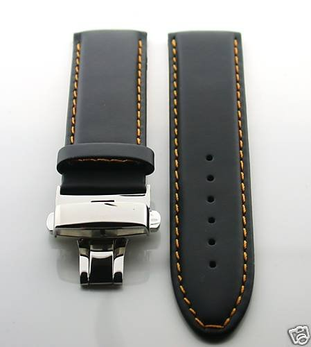 22Mm Italy Leather Watch Deployment Strap For Omega Os Blk#2