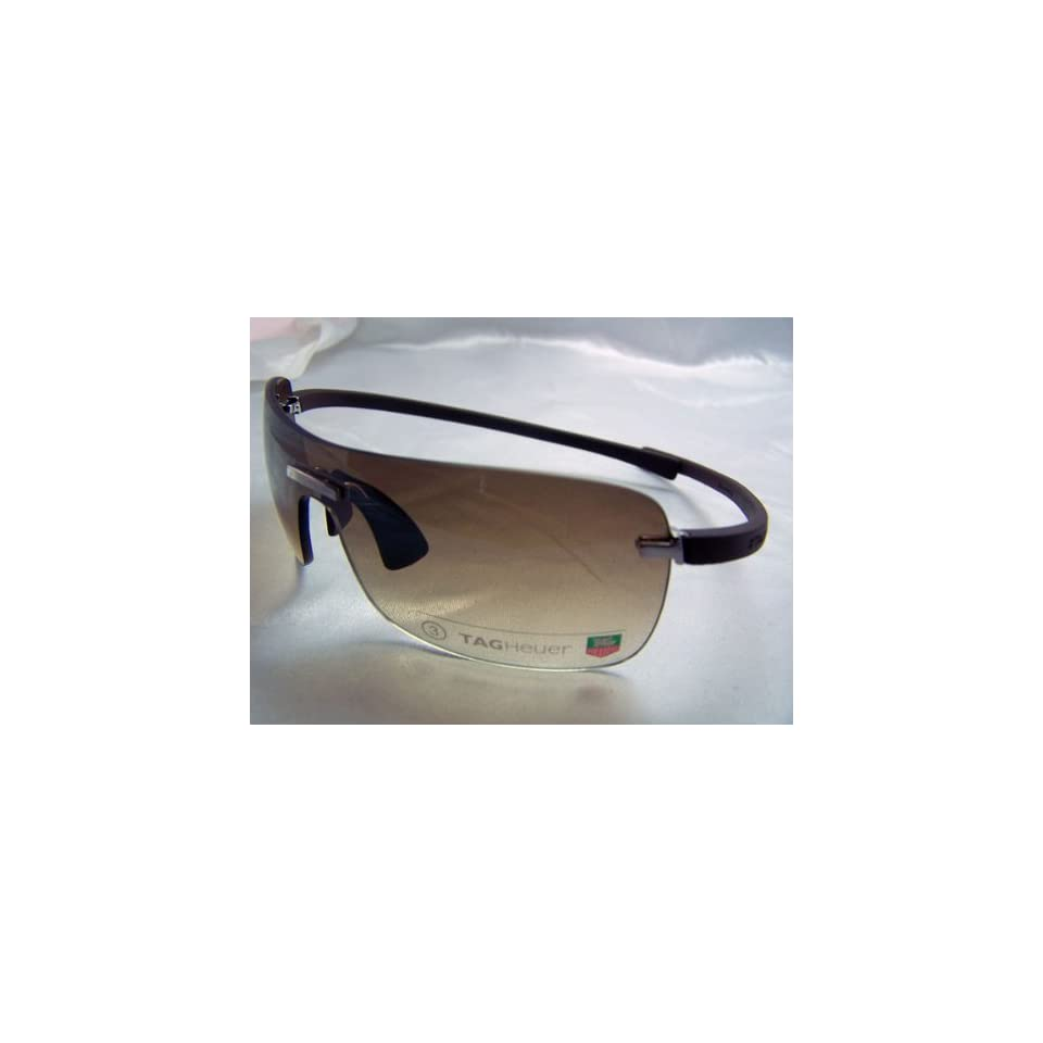 9e2891af722 TAG HEUER RIMLESS CURVE TH 5105 TH5105 202 BROWN RUBBER BROWN GRADIENT LENS  SHIELD SUNGLASSES SHADES
