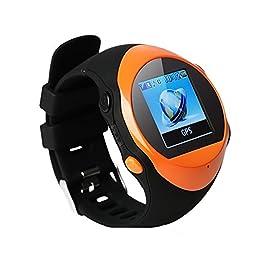 GPS Tracker Smart Watch For Kids Children Elderly A-GPS Locator SOS Emergency Push Smart Watch Alarm Clock Support SMS (Orange)