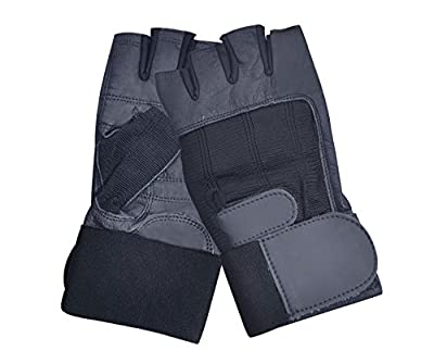 Leather Weight Lifting Gym Gloves Wrist Support Double Velcro Double Stitched Padded Palm from AllSorts