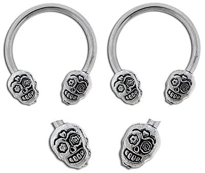 """Pair of Surgical Steel Sugar skull skeleton horseshoe Ring lip, belly, nipple, cartilage, tragus, earring body Jewelry piercing hoop - 14 gauge, 1/2"""" (12mm) 14g from playful piercings"""