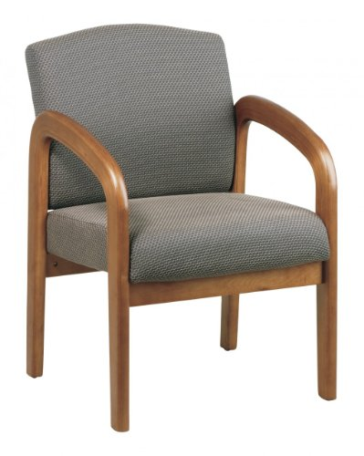 Office Star Products Office Star Products Wooden Guest and Reception Chair with Arms, Medium Oak and Taupe